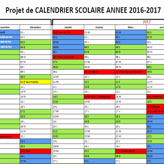 PROJET DE CALENDRIER SCOLAIRE 2016-2017