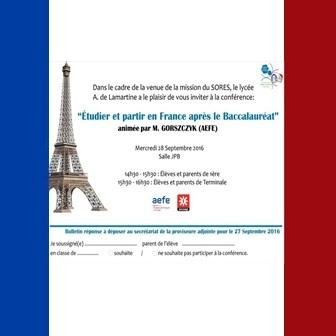 CONFÉRENCE «ÉTUDIER ET PARTIR EN FRANCE APRÈS LE BACCALAURÉAT»