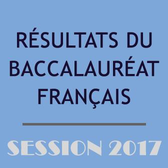 RÉSULTATS DU BACCALAURÉAT FRANÇAIS – SESSION 2017