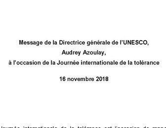 16 NOVEMBRE 2018, JOURNÉE INTERNATIONALE DE LA TOLÉRANCE