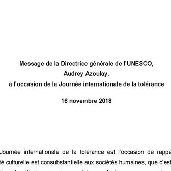 16 NOVEMBRE 2018, JOURNÉE INTERNATIONALE DE LA TOLÉRANCE