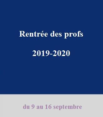 Pré-rentrée des professeurs 2019-2020