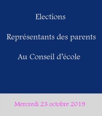 Elections des représentants des parents du 1er degré au Conseil d'école