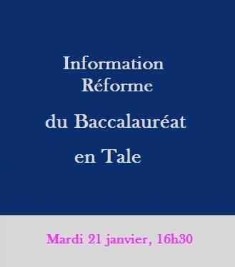 Information réforme du baccalauréat en Tale