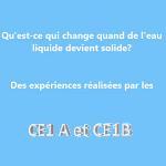 Les expériences des CE1!