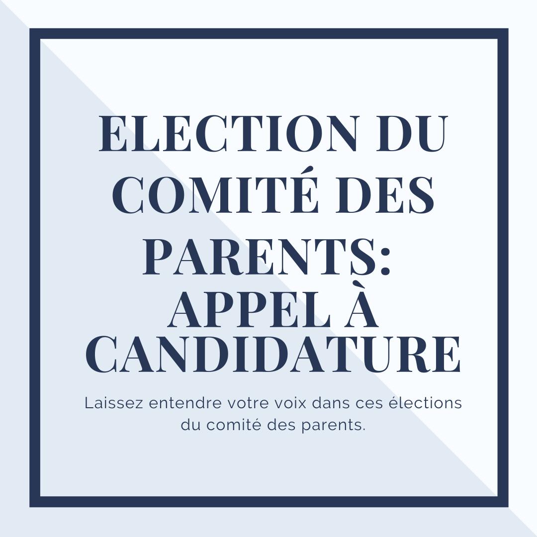 Election du comité des parents : Appel à candidature