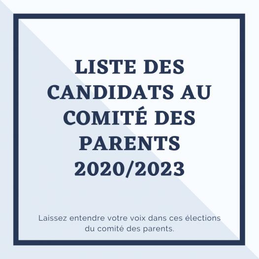 liste des candidats au comité des parents 2020/2023