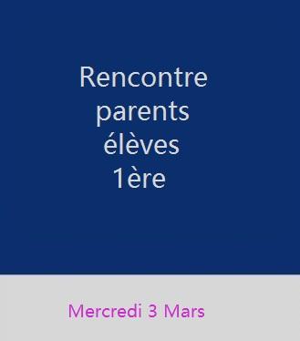 Rencontre parents et élèves de 1ère
